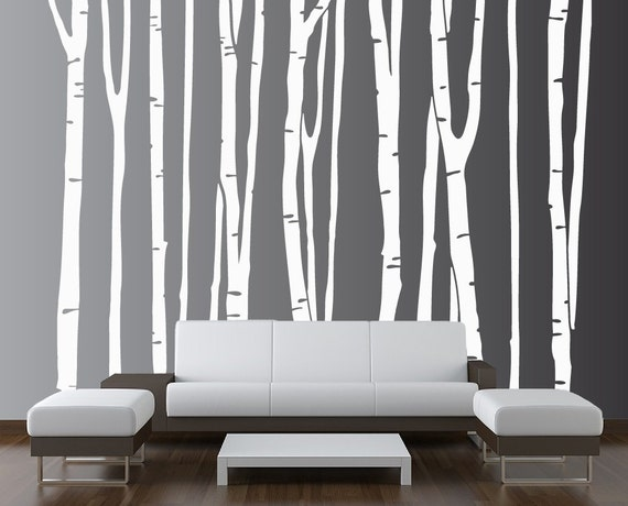 Large Wall Birch Tree Decal Forest Kids Vinyl Sticker Removable (9 trees) 8 foot tall 1109