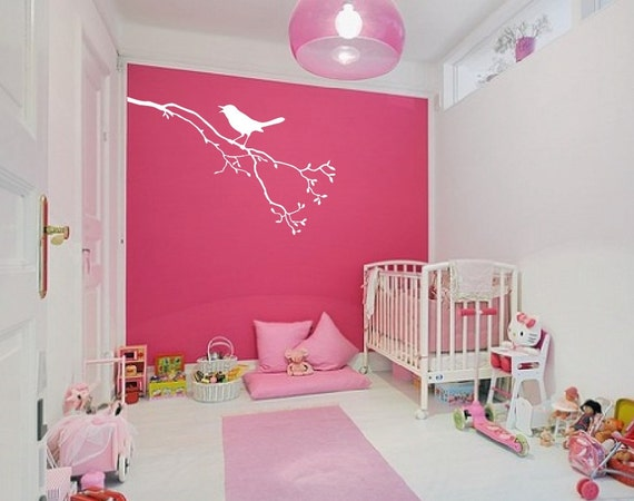 Large Wall Tree Branch Nursery Decal With Bird on Branch 1113 (3 feet wide)