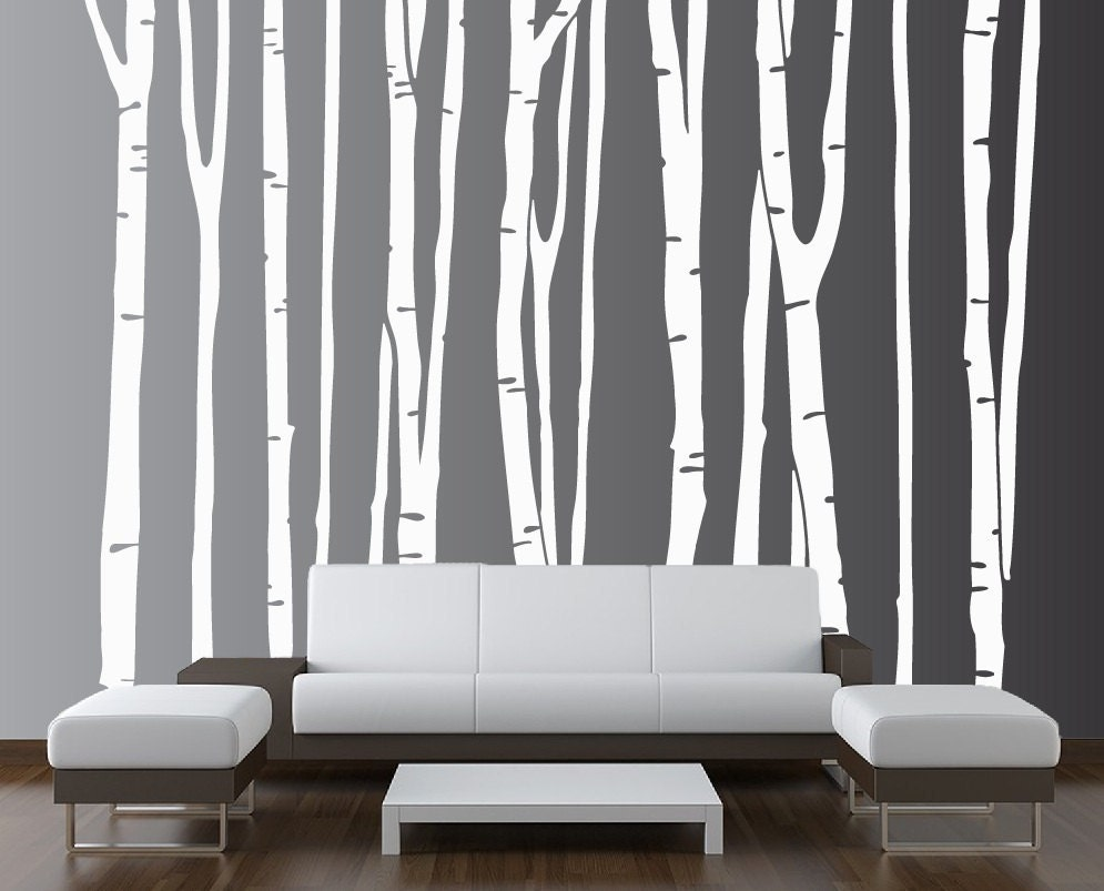 Large wall birch tree decal forest kids vinyl sticker for Birch trees mural