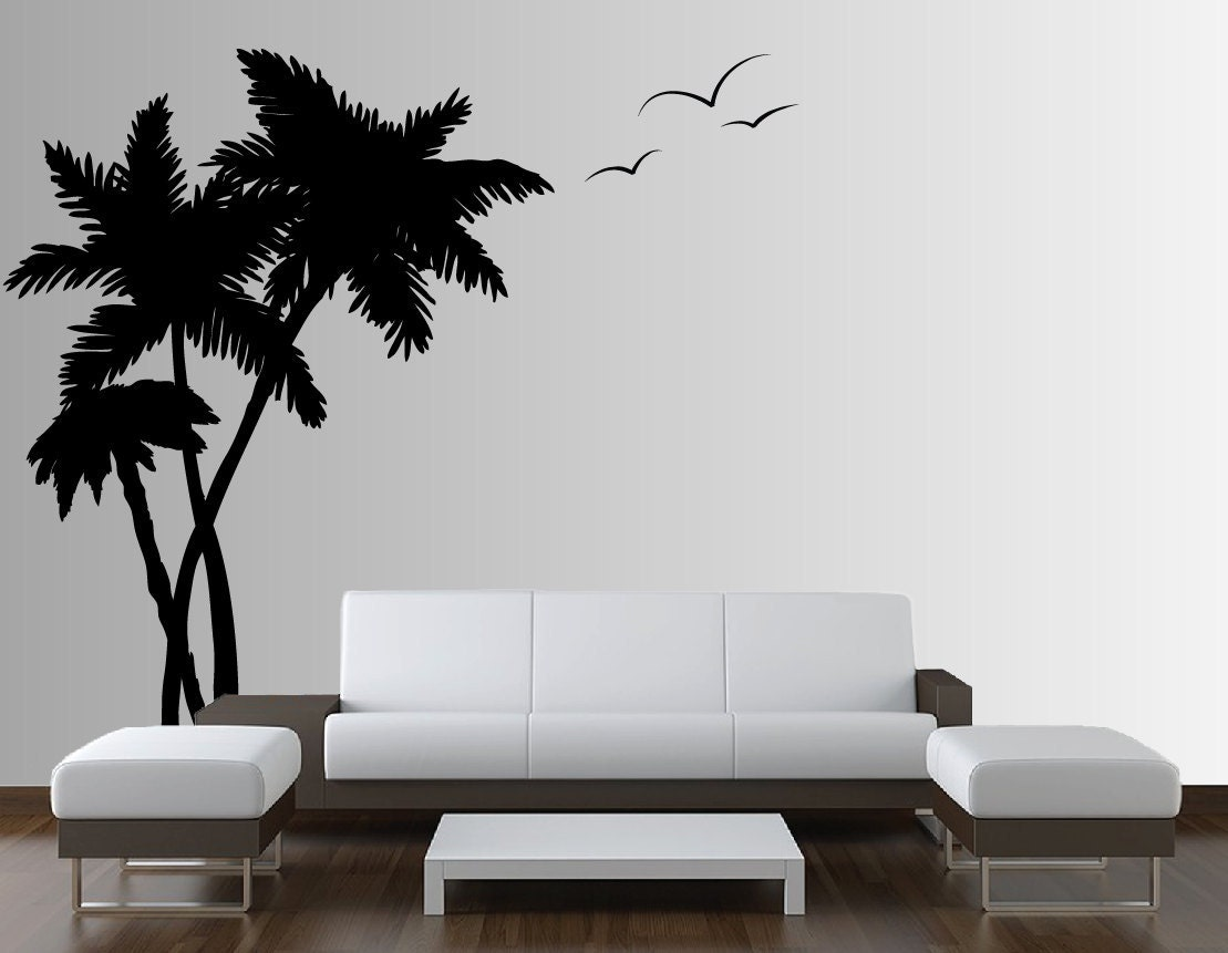 palm coconut tree wall decal with seagull by innovativestencils. Black Bedroom Furniture Sets. Home Design Ideas