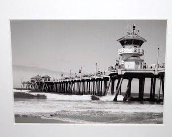 5x7 Black & White photo of Huntington Beach Pier: ocean, Southern California