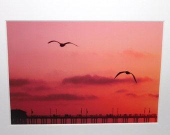 5x7 pink sunset: Huntington Beach, California, pier