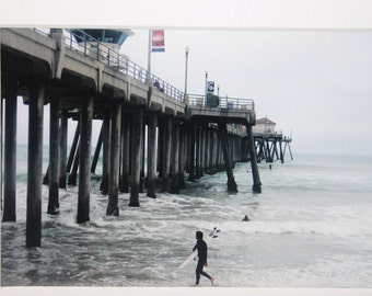 5x7 color photo of surfer by HB pier: ocean, surfboard