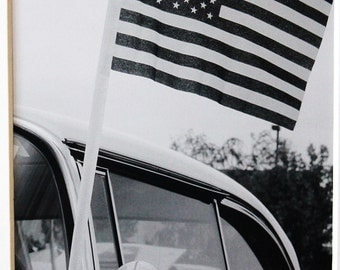 5x7, American Flag, classic car, patriotic, black and white