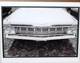 Photo Card, Classic Car, black and White, 59 Chevy Impala