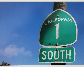 5x7 photo, California, Highway sign 1, Pacific Coast Highway,