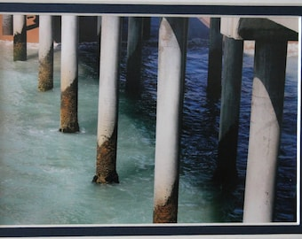 5x7 matted photo of the Huntington Beach Pier, California, beach, ocean, pier