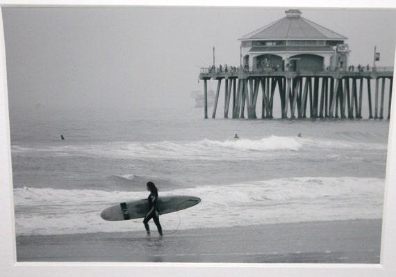 5x7 Surfer Girl: black and white, Huntington Beach, surf, Ocean