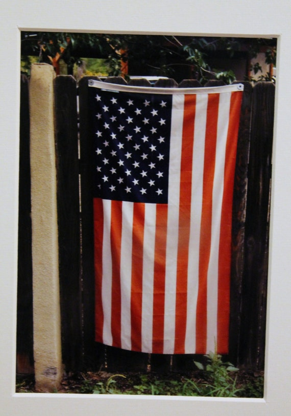 5x7 American Flag: rustic, patriotic, red, white and blue