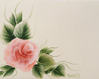 Hand Painted Peach Rose Greeting Card - Cream