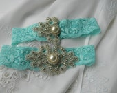 Tiffany Blue Stretch Lace Wedding Garter with pearl and rhinestone applique centering