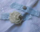Bridal Garter Set, Light Blue Lace Wedding Garter, Ivory Flower Garter