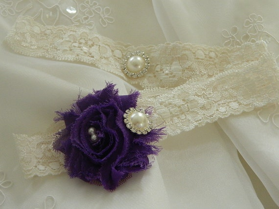 Stretch Lace Wedding Garter with Chiffon pearl and rhinestone centering