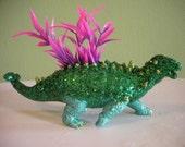 Dinosaur Planter - Green Glittered Ankylosaur