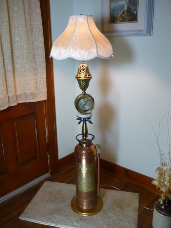 Steampunk Lamp Brass Fire Extinguisher Floor Lamp Light