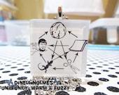Rock Paper Scissors Lizard Spock. Big Bang Theory Glass Tile Pendant Handmade Humor Funny Jewelry