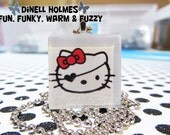 CLEARANCE SALE Pirate Hello Kitty Glass Tile Pendant Handmade Halloween Jewelry