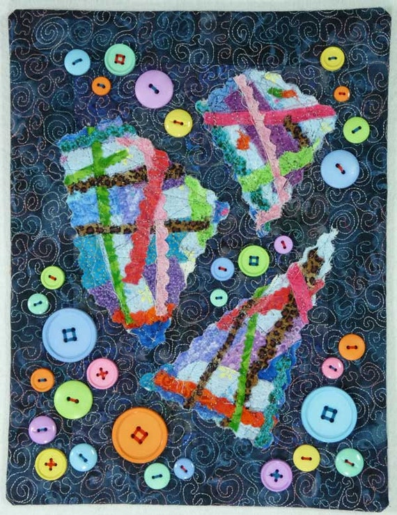 Button Wall Art Quilted Needle Punch Fabric Collage