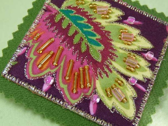Beaded - Fabric - Fiber Art Brooch