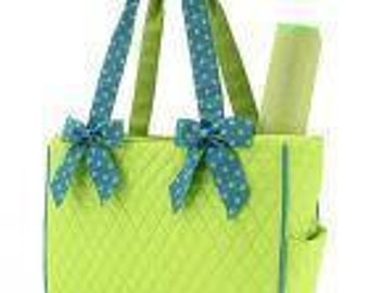 Diaper Bag Personalized lime and turquoise Quilted Monogrammed 2 piece set