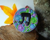 Coin Purse Feeling Groovy Musical Note OOAK Trinket Box Hand-Decorated with Polymer Clay