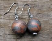 Copper Silver Drop Bead Earrings in Polymer Clay