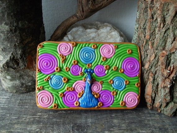 Peacock Cig Case Wallet, OOAK Metal Tin Hand Decorated in polymer clay filligree