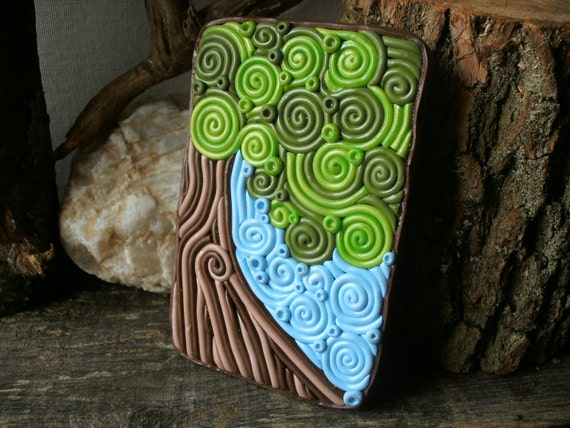 """Tree Cigarette Case Wallet OOAK """"Tree Hugger"""" Metal Tin Hand-Decorated with Polymer Clay"""