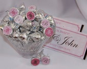 Elegant Pink Kisses Stickers. Customized. Great for Bridal Showers, Wedding Receptions, Candy Buffets and more.