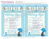 Chic PARIS themed Shower Invitations. Blue, Green, Black and White. Customized just for you.