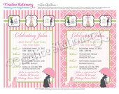 Chic PARIS themed Shower Invitations. Pink, Green, Black and White. Customized just for you.