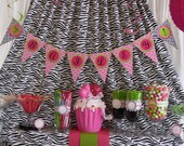 Zebra Birthday DIY Party Printables Package. Hot Pink, Lime Green, Zebra prints. Party printables customized just for you.