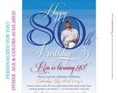 Mens 80th Birthday. Printable Milestone Birthday Invitations customized just for you. Other age and color options available.