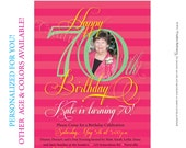 Womens 70th Birthday. Printable Milestone Birthday Invitations customized just for you. Other age and color options available.