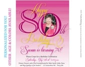 Womens 80th Birthday. Printable Milestone Birthday Invitations customized just for you. Other age and color options available.
