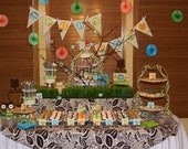 Owl Birthday Boy DIY Party Printables Package. Aqua, Orange, and Lime Green Chevron. Owl themed party printables customized just for you.