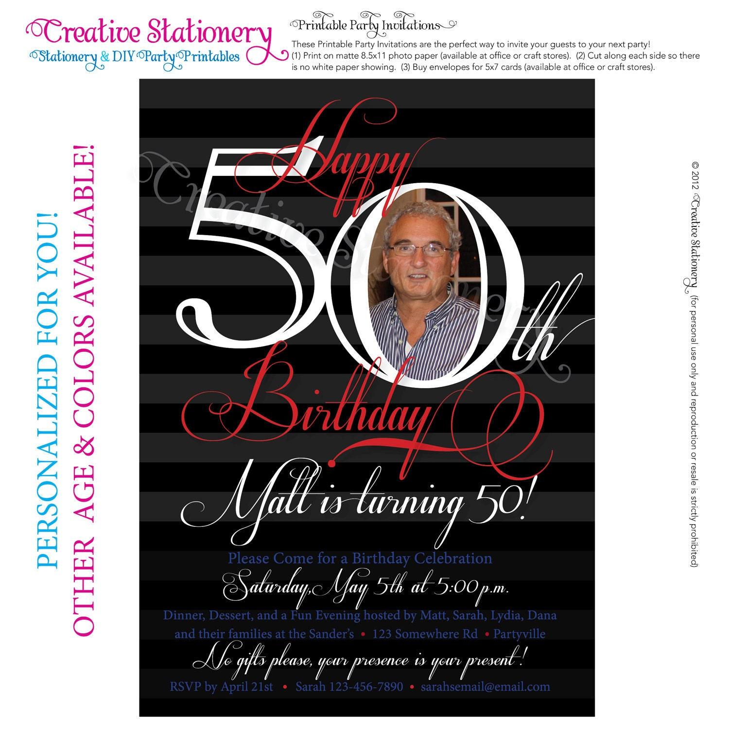 50th birthday party invitations free printable