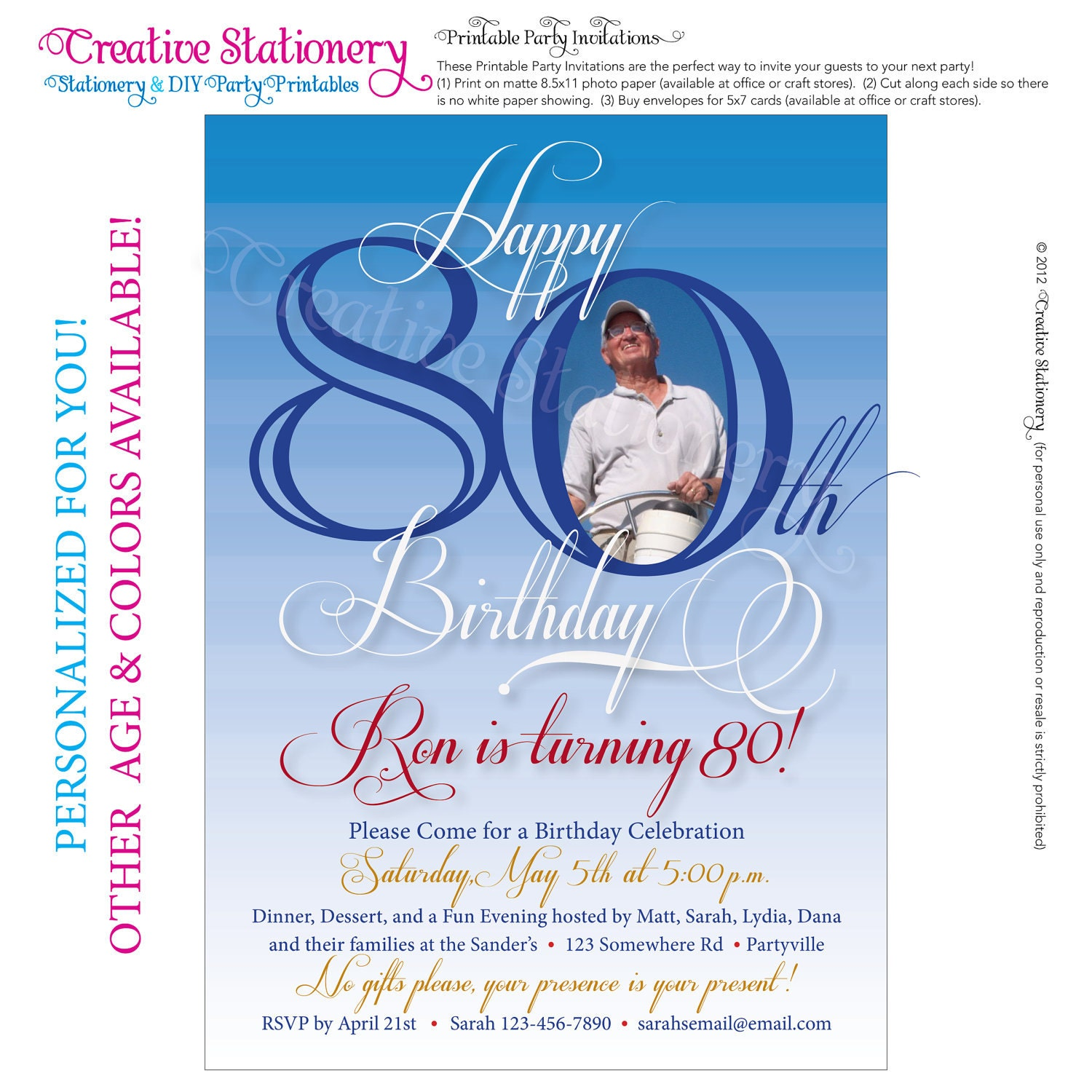 Persnickety image within 80th birthday invitation templates free printable