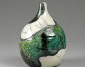 Torquoise, copper and white raku vase