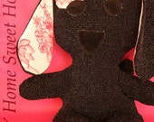Heat Pack Puppy - WASHABLE / Microwavable - Heart Shaped Removable Rice Pack - Black Sparkles, pink floral puppy