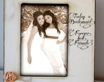 Rustic Vintage Wedding Bridesmaid Best Friend Picture Frame Keepsake 4x6 Gift Personalized Flowers 5x7 Wedding sign  Pearls