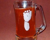 Etched Stein with your Baby's Foot or Hand Print