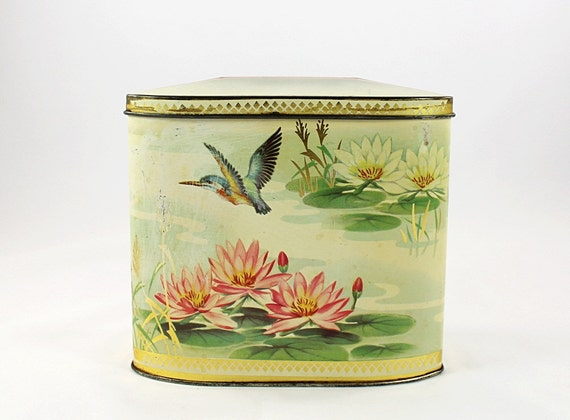 Vintage Gray Dunn Biscuit Tin - Hummingbird & Water Lilies - Product Of Scotland