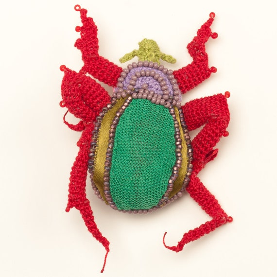 RESERVED FOR JULIA crocheted beetle brooch