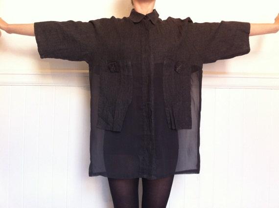 NOOK transparent linen 90s blouse