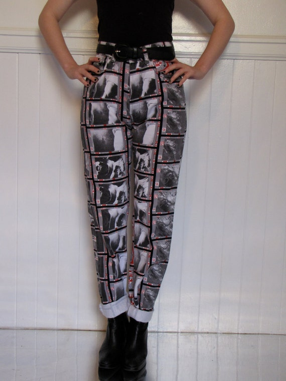 WOW: 90s Moschino digital print jeans with peace sign details