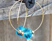 Turquoise Crystal Kiss Hoop Earrings