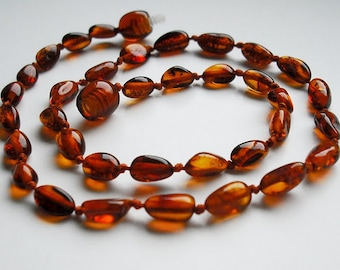 Baltic Amber Baby Teething Necklace. Cognac  color beads. Effective Pain Relief Solution.