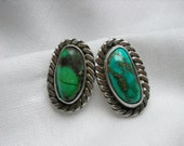 Silver and Turquoise post earrings