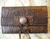 Iphone wallet,3,  4, 4s, tooled dark brown leather, ipod case, Blackberry, smart phone, OOAK, wallet, card case, upcycled. OOAK